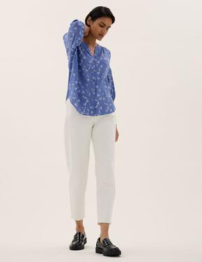 Kadın Mavi Çiçek Desenli V Yaka Bluz
