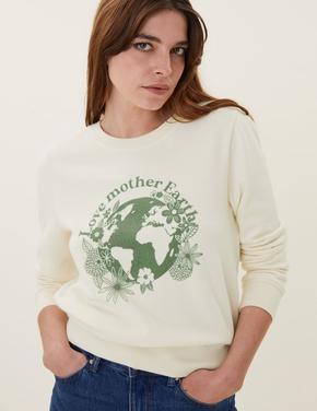 Kadın Krem Slogan Baskılı Sweatshirt