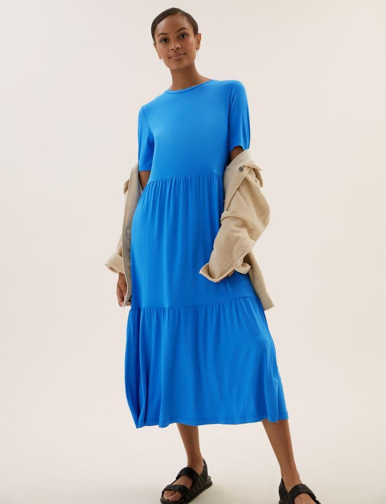 Kadın Mavi Kısa Kollu Midi Elbise