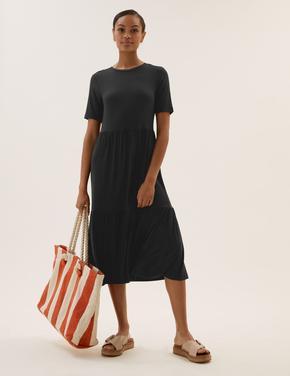 Kadın Siyah Kısa Kollu Midi Elbise