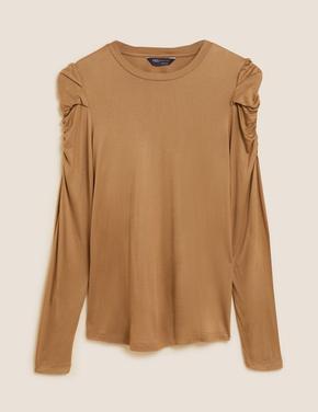 Kadın Kahverengi Büzgü Kol Detaylı Bluz