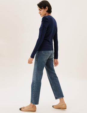 Kadın Lacivert Büzgü Kol Detaylı Bluz