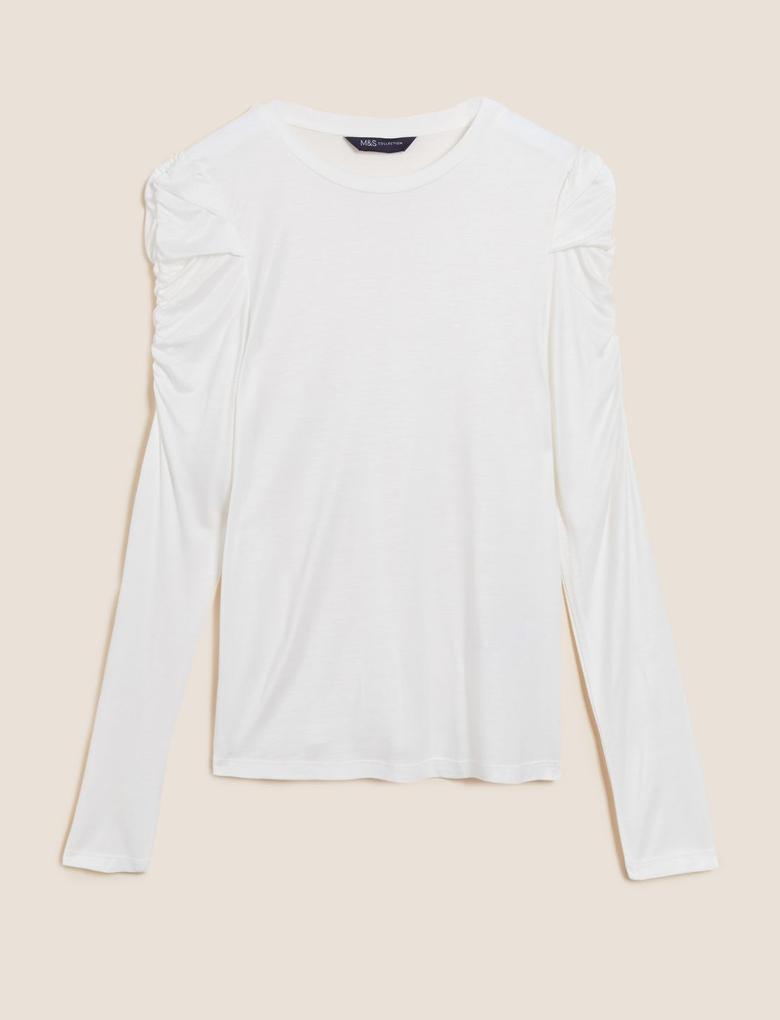 Kadın Krem Büzgü Kol Detaylı Bluz