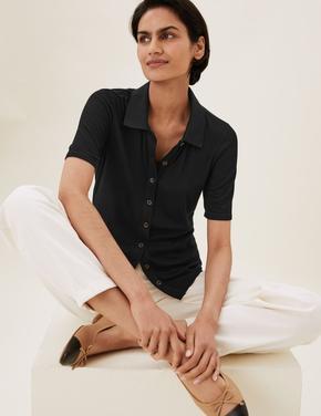 Kadın Siyah Kısa Kollu Düğmeli Bluz