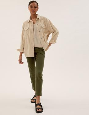Kadın Yeşil Jersey Slim Fit Grazer Pantolon