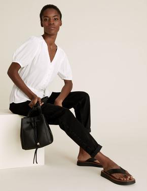 Kadın Siyah Suni Deri Büzgülü Omuz Çantası