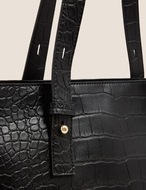 Kadın Siyah Suni Deri Görünümlü Çanta