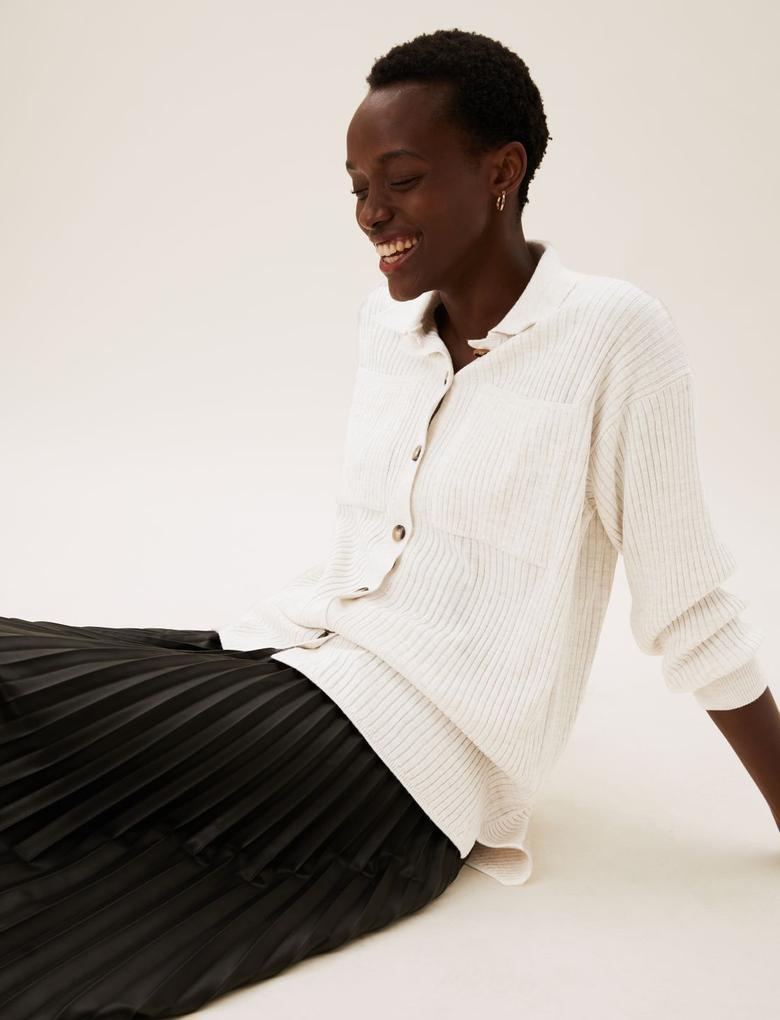 Kadın Bej Fitil Detaylı Örme Gömlek