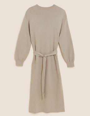 Kadın Bej Kemerli Örme Midi Elbise