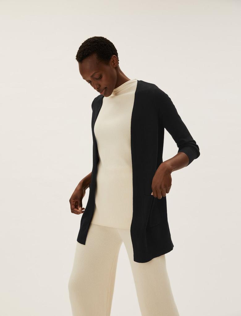 Kadın Siyah Relaxed Fit Uzun Kollu Hırka