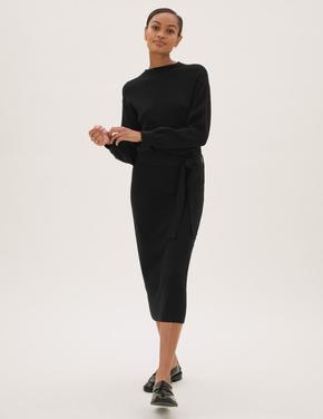 Kadın Siyah Kemerli Örme Midi Elbise