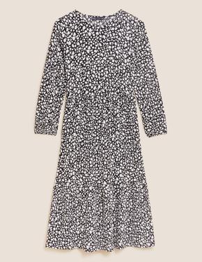 Kadın Siyah Çiçek Desenli Jersey Midi Elbise