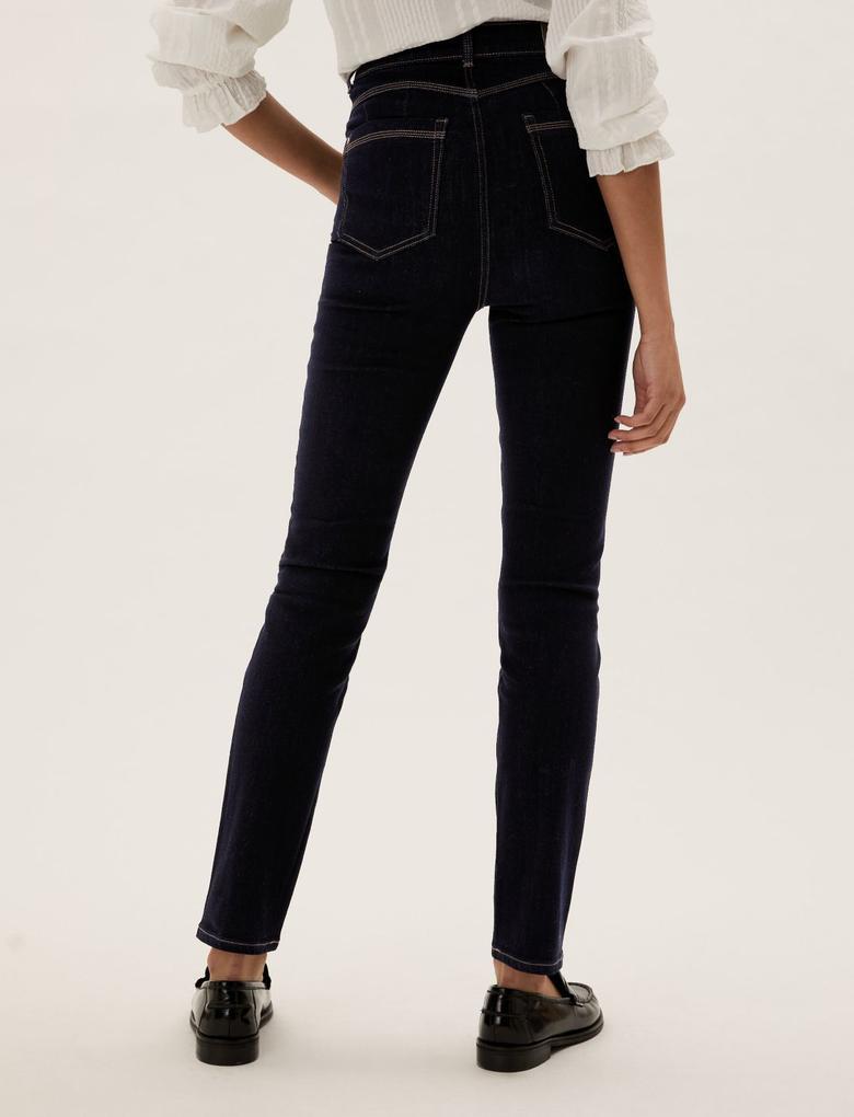Kadın Lacivert Yüksek Belli Magic Jean Pantolon