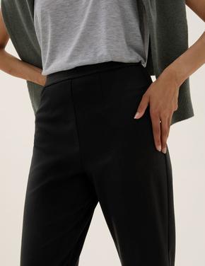 Kadın Siyah Slim Fit Pileli 7/8 Pantolon