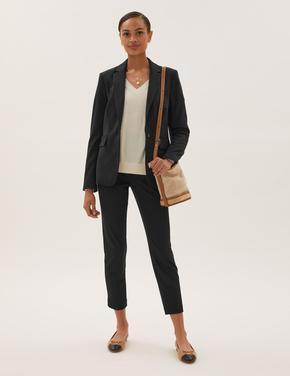 Kadın Siyah Slim Fit Ankle Grazer Pantolon