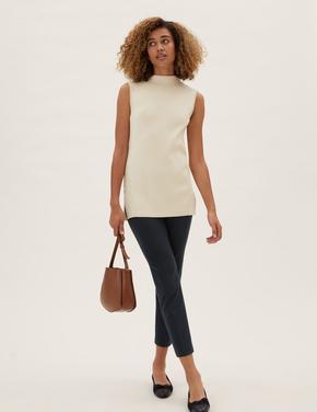 Kadın Lacivert Slim Fit Ankle Grazer Pantolon