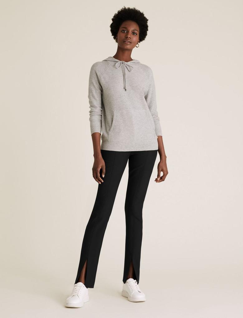 Kadın Siyah Yırtmaç Detaylı Skinny Fit Pantolon