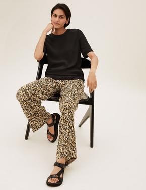 Kadın Krem Geniş Paça Baskılı Pantolon
