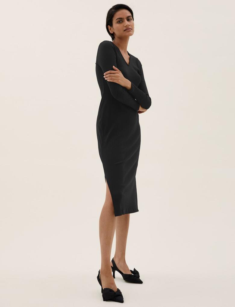 Kadın Siyah V Yaka Yırtmaç Detaylı Midi Elbise