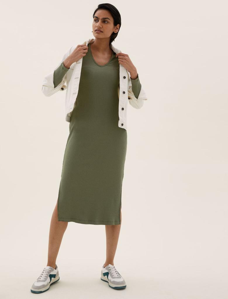 Kadın Yeşil V Yaka Yırtmaç Detaylı Midi Elbise
