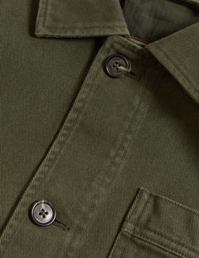 Erkek Yeşil Pamuklu Fitilli Ceket