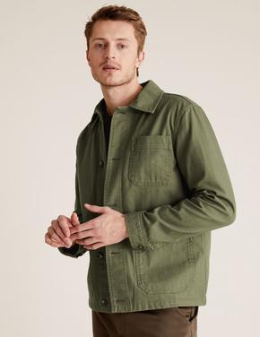 Erkek Yeşil Pamuklu Ceket