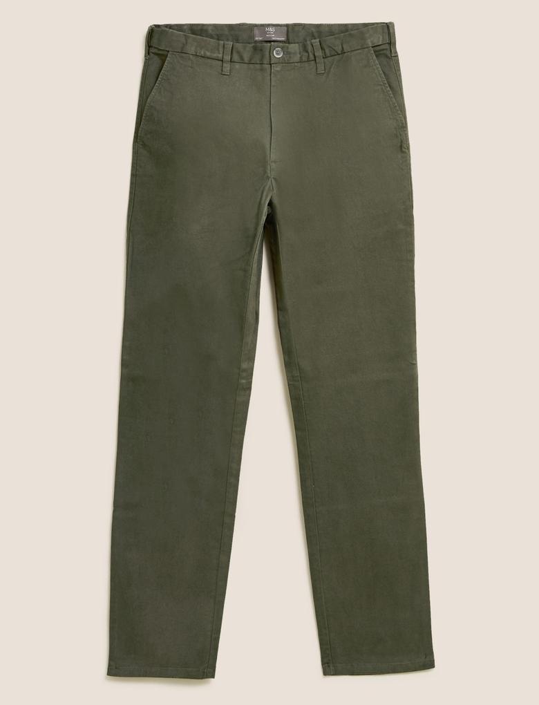 Erkek Yeşil Regular Fit Chino Pantolon