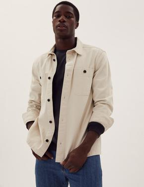 Erkek Krem Saf Pamuklu Denim Gömlek Ceket