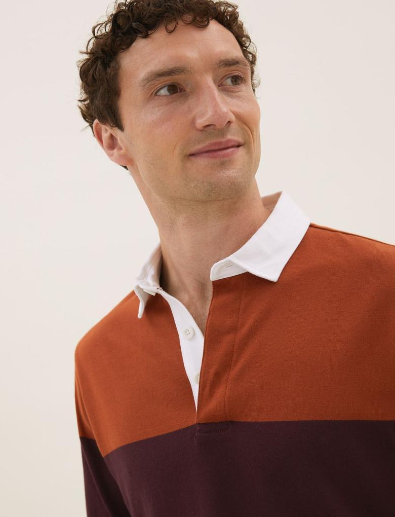 Erkek Bordo Saf Pamuklu Uzun Kollu Polo Yaka T-Shirt