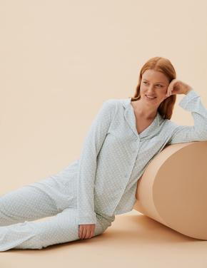 Kadın Gri Modal Karışımlı Uzun Kollu Pijama Takımı