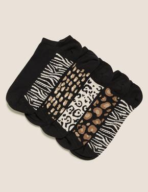 Kadın Siyah 5'li Trainer Çorap