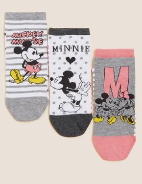 Kadın Krem Mickey™ & Minnie™ 3'lü Trainer Çorap