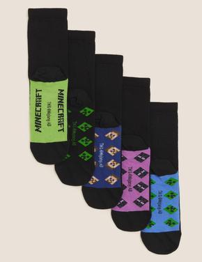 Çocuk Siyah 5'li Minecraft™ Çorap