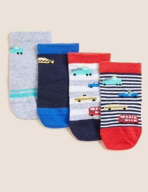 Çocuk Kırmızı 4'lü Araba Desenli Çorap (0-24 Ay)