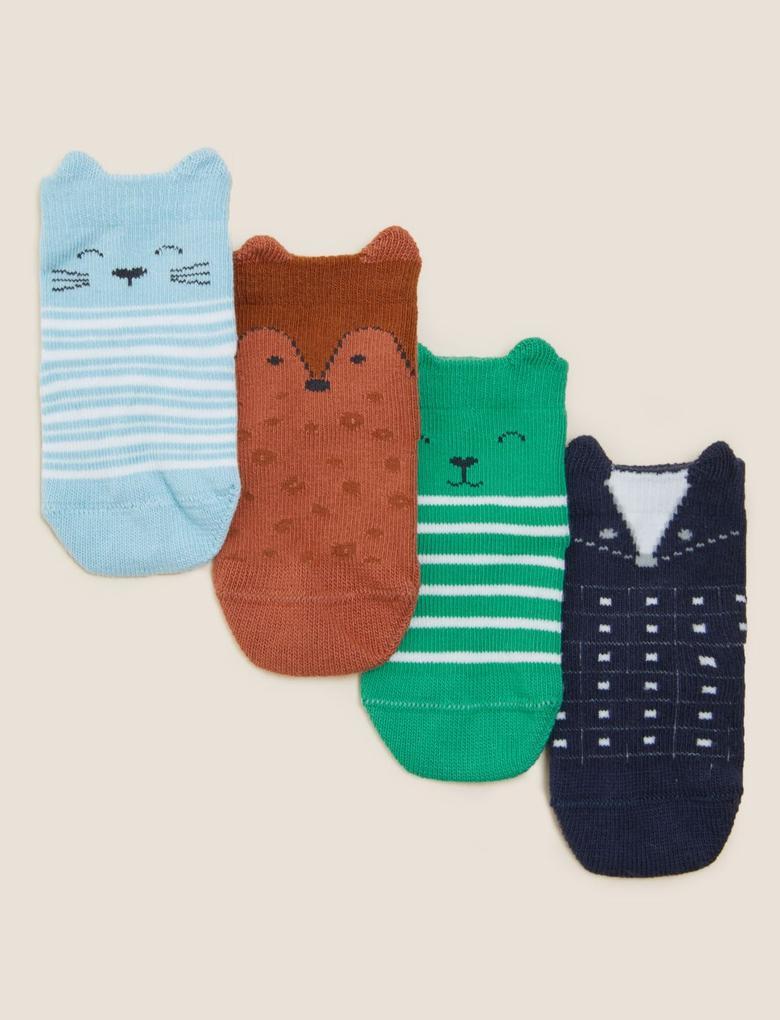 Çocuk Multi Renk 4'lü 3D Kulak Desenli Çorap (0-24 Ay)