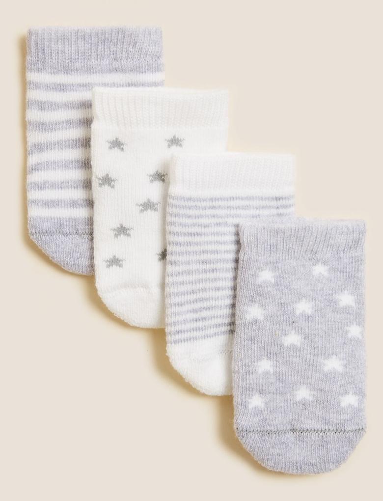 Çocuk Gri 4'lü Havlu Çorap (0-24 Ay)