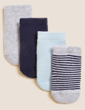 Çocuk Mavi 4'lü Havlu Çorap (0-24 Ay)
