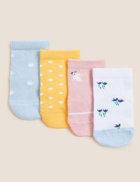 Çocuk Multi Renk 4'lü Grafik Desenli Çorap (0-24 Ay)