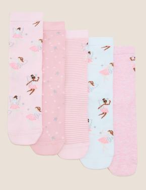 Çocuk Pembe 5'li Balerin Desenli Çorap