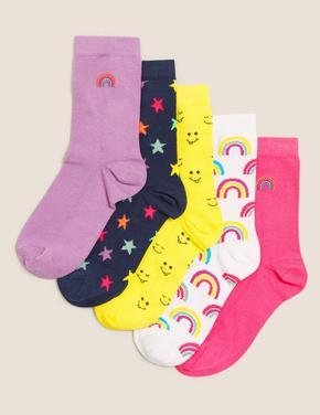 Çocuk Multi Renk 5'li Grafik Desenli Çorap