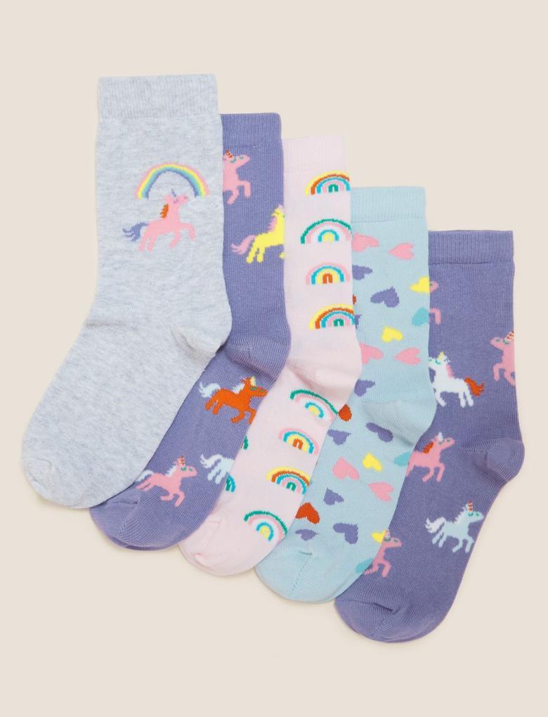 Çocuk Multi Renk 5'li Unicorn Desenli Çorap