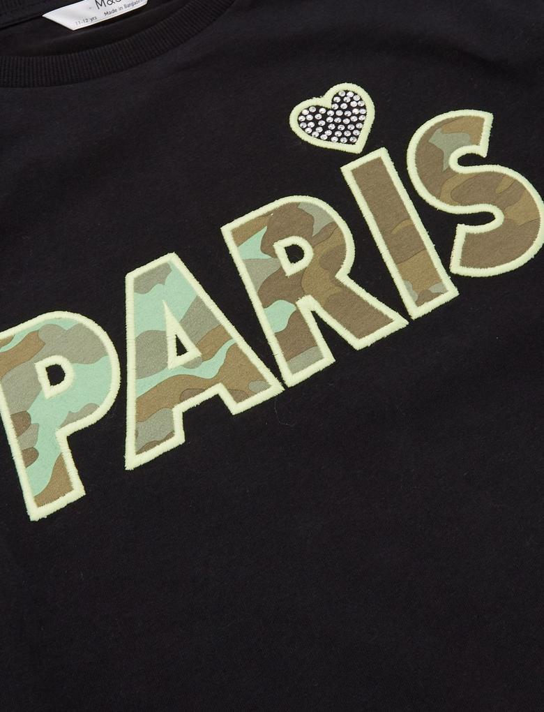 Kız Çocuk Siyah Slogan Desenli Crop Sweatshirt