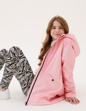 Kız Çocuk Pembe Stormwear™ Metalik Desenli Kapüşonlu Balıkçı Mont (6-16 Yaş)
