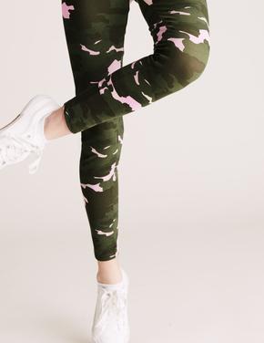 Kız Çocuk Yeşil Kamuflaj Desenli Legging Tayt (6-16 Yaş)
