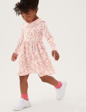 Kız Çocuk Pembe Aristocats™ Uzun Kollu Elbise (2-7 Yaş)