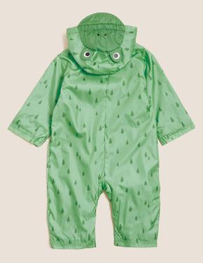 Bebek Yeşil 3D Kurbağa Desenli Kapüşonlu Yağmurluk (0-3 Yaş)