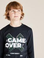 Erkek Çocuk Lacivert Grafik Desenli Uzun Kollu T-Shirt
