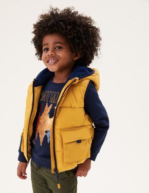 Erkek Çocuk Sarı Stormwear™ Kapüşonlu Şişme Yelek (2-7 Yaş)