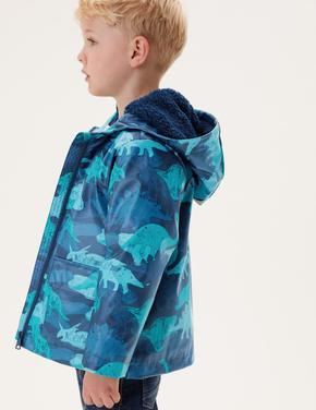 Erkek Çocuk Multi Renk Stormwear™ Dinozor Desenli Kapüşonlu Balıkçı Mont (2-7 Yaş)