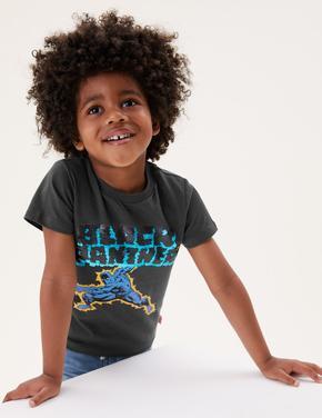 Erkek Çocuk Siyah Saf Pamuk Black Panther™ Çift Yönlü Pullu Tişört (2-7 Yaş)